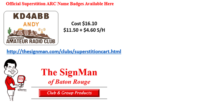 Superstition ARC Official Name Badges are available Here.