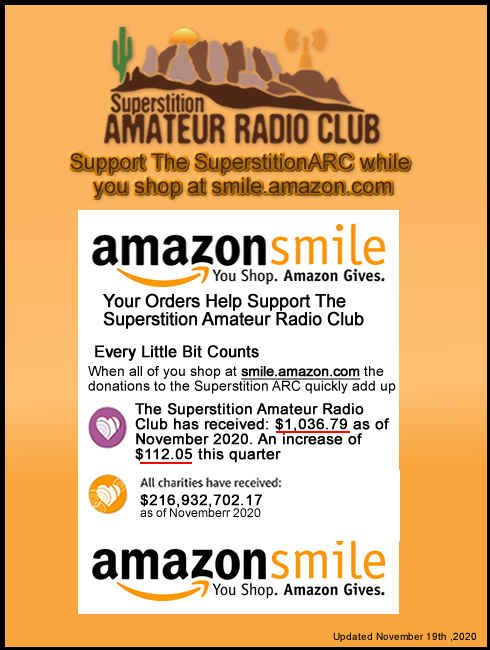 Earn AmazonSmile Donations for the Superstition Amateur Radio Club while you shop for Gifts for your Family and Friends.